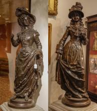 Pair of Large Bronze Beauty