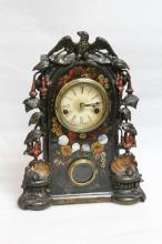 American Wood Clock Inlaid Mother of Pearl