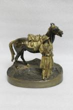 Russian Bronze of a Man & Horse, Marked