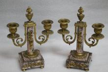 Pair of 19th C. Marble & Bronze Candle Holders