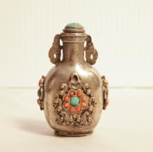 Chinese Snuff Bottle Inlaid Turquoise