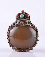 19th C. Agate Snuff Bottle  w/ Turquoise & Red Gem