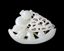 19th C. White Jade Carved Boy on Boat