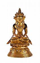 Sino-Tibetan Gilt Bronze Seating Buddha