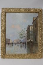 Oil on Canvas Painting of a Street Scene, Signed