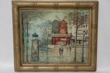 Oil on Canvas Painting of Street, Signed