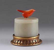 19/20th C. Chinese Jade Box on Bronze Base