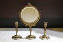 E.Barbedienne, Bronze Mirror& Candle Holder, MArk