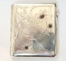 Antique Russian Silver Ruby Cigarette Case