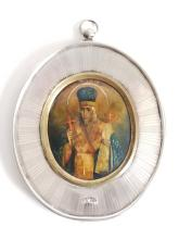 19C Russian Silver Mother of Pearl Icon