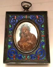 Antique Silver Enamel 19c Russian icon