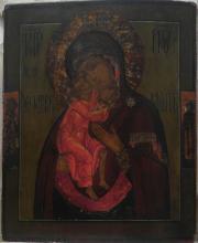 Antique 18c Russian icon of Fedorovskaya