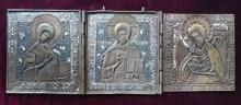 Antique 19c Russian Enamel Bronze Tryptic