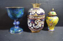 3 Pieces of Chinese Cloisonne Vases