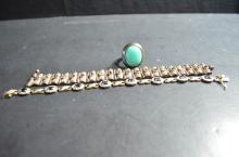3 Chinese Silver Bracelet and Turqoise Ring