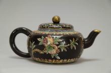 Chinese Gilt Enameled Yixing Zisha Teapot