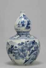 Chinese Blue/White Gourd Shape Vase w/ Landscape