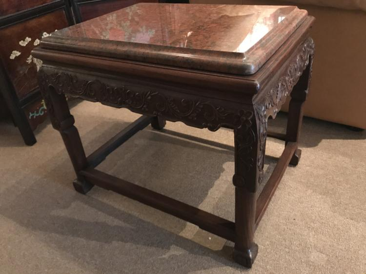 chinese small wood coffee table w marble top. Black Bedroom Furniture Sets. Home Design Ideas