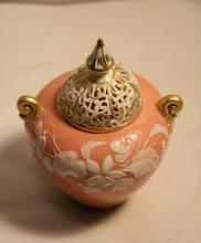 Pink Porcelain Cover Jar, Marked