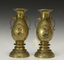 Pair of Japanese Bronze Inlaid Gold & Silver Vase