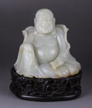 19th C. Chinese Jade Carved Seating Buddha