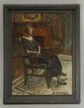 Oil on Board of Lady in a Room Scene