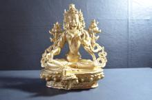 Chinese Gilt Bronze Guanyin
