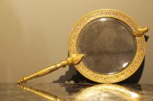 French Enameled Bronze Hand Mirror, Marked