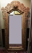 Indonesian Carved Wood Mirror