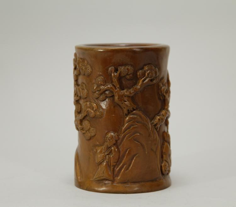 Chinese boxwood carved brush pot