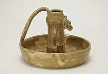An Early Straw-Glazed Oil Lamp