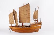Chinese Wood Sail Boat Model, Signed, 1920's