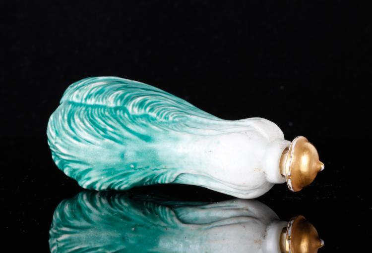 19th C. Chinese Porcelain Cabbage Snuff Bottle