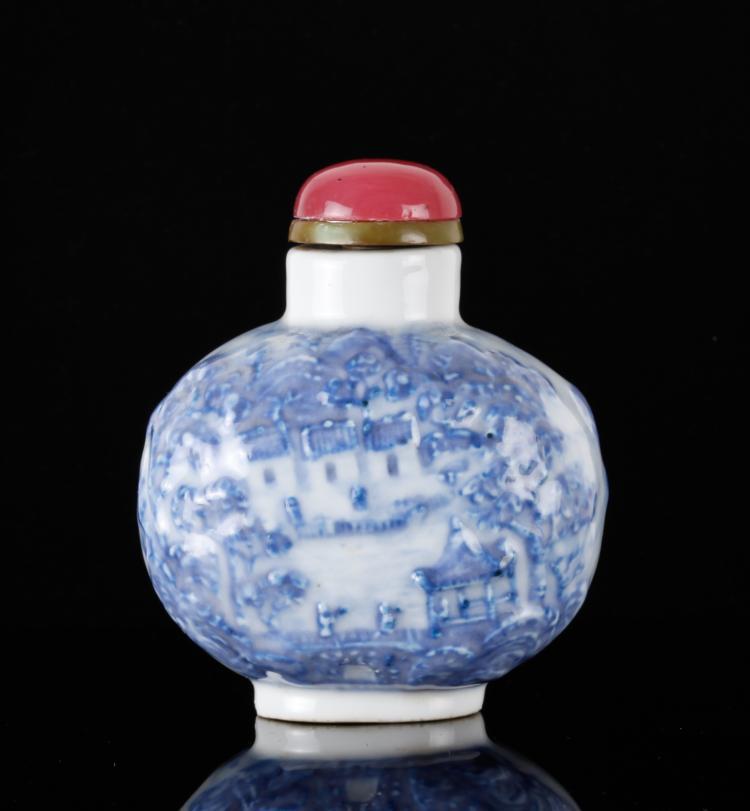 18th C. Molded Underglaze Porcelain Snuff Bottlle