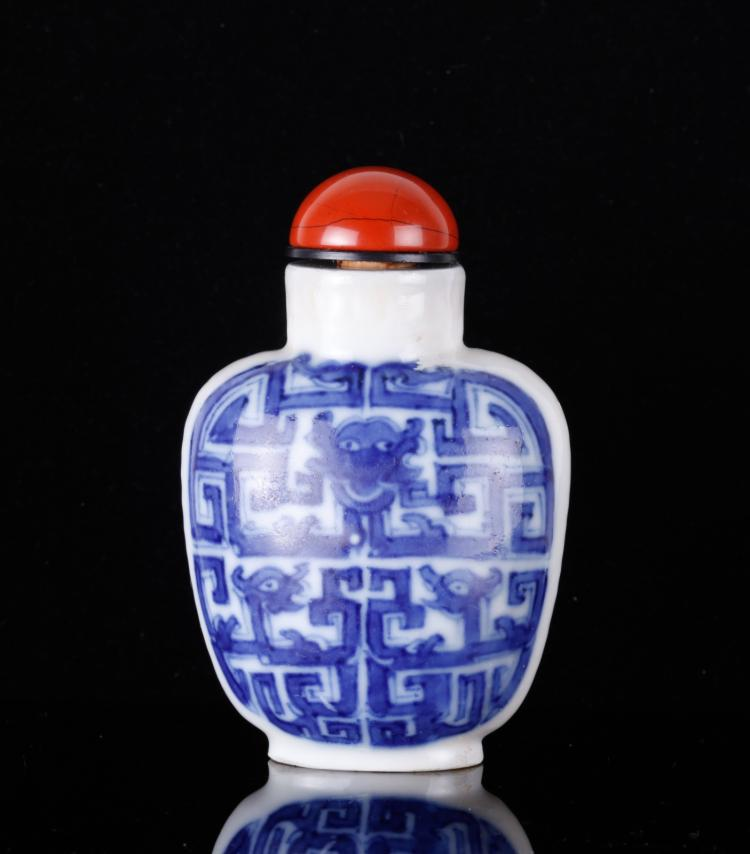 19th C. CH Underglaze Blue Porcelain Snuff Bottle