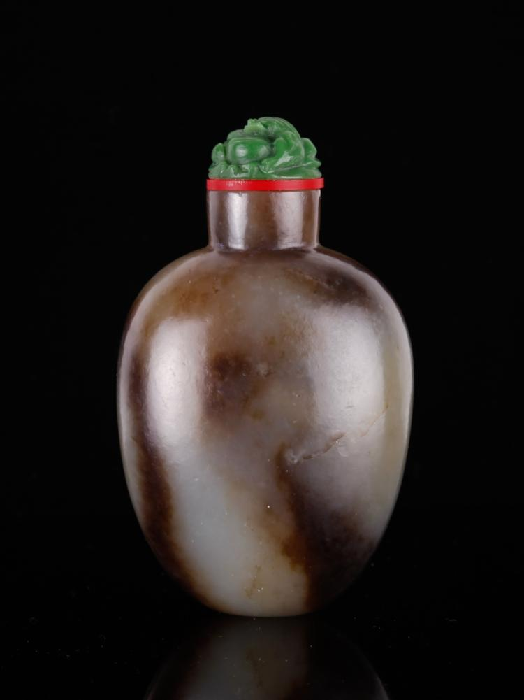 19th C. Chinese Celadon Jade Snuff Bottle