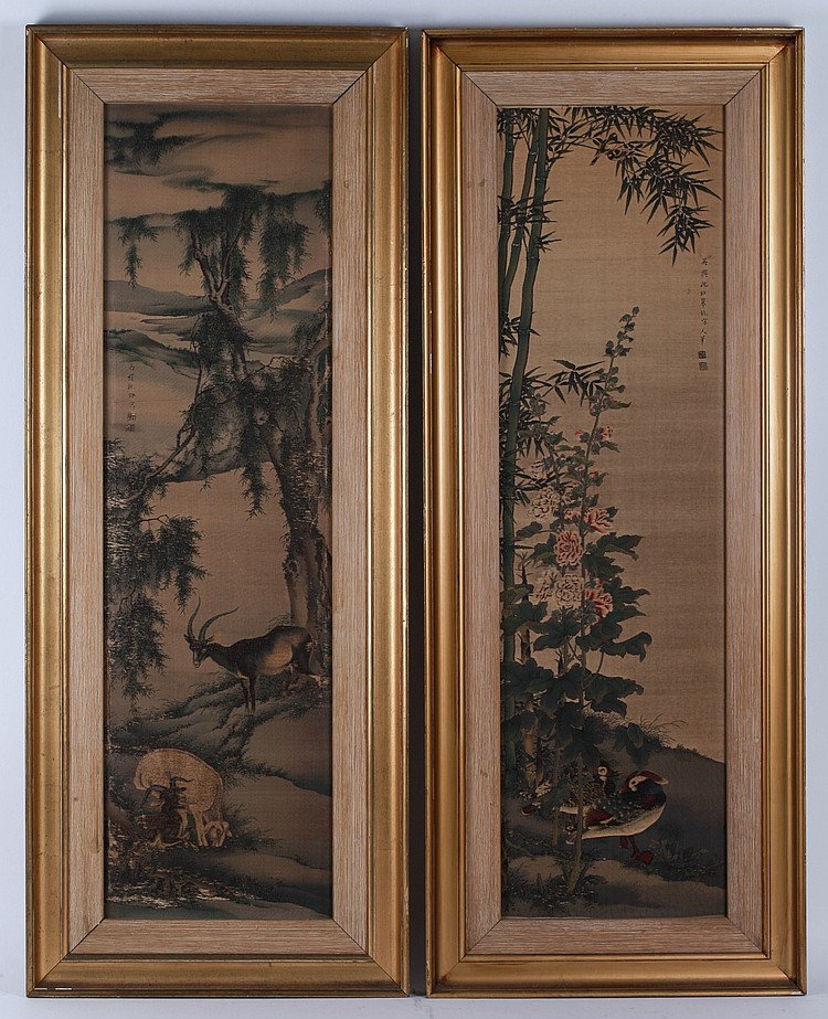 Pair of Chinese Silk Paintings, Signed Shen Quan