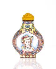 19th C. Enamel Painted of European Snuff Bottle