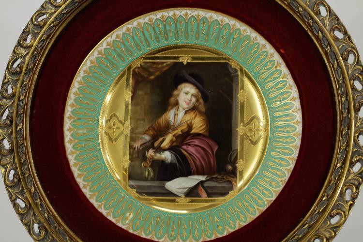 Framed Porcelain Plate Violin Player
