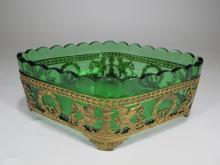 Antique French gilt bronze & green glass centerpiece