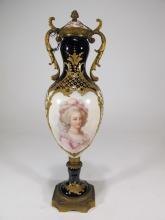 Antique French Sevres porcelain & bronze urn