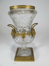 Antique Baccarat style gilt bronze & crystal urn