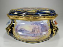 Antique French probably Sevres bronze & porcelain box
