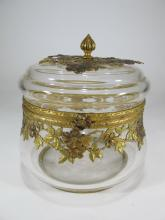 Antique French Baccarat style bronze & glass box