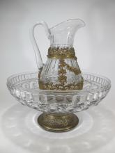 Antique French Baccarat crystal pitcher & bowl