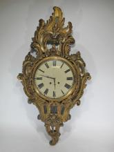 Antique French wood & bronze wall clock