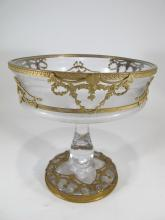 Antique French Baccarat style bronze & crystal centerpiece