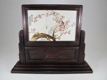 Antique Japanese wood & porcelain screen