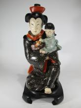 Antique Italian Lenci Japanese woman & child statue