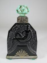 French Art Deco Hoffman small glass & stones perfurm bottle